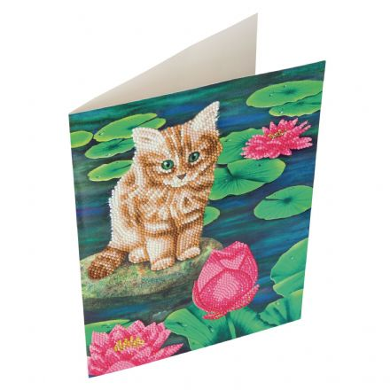 Crystal Art Giant D.I.Y Card Lily's Pond Cat